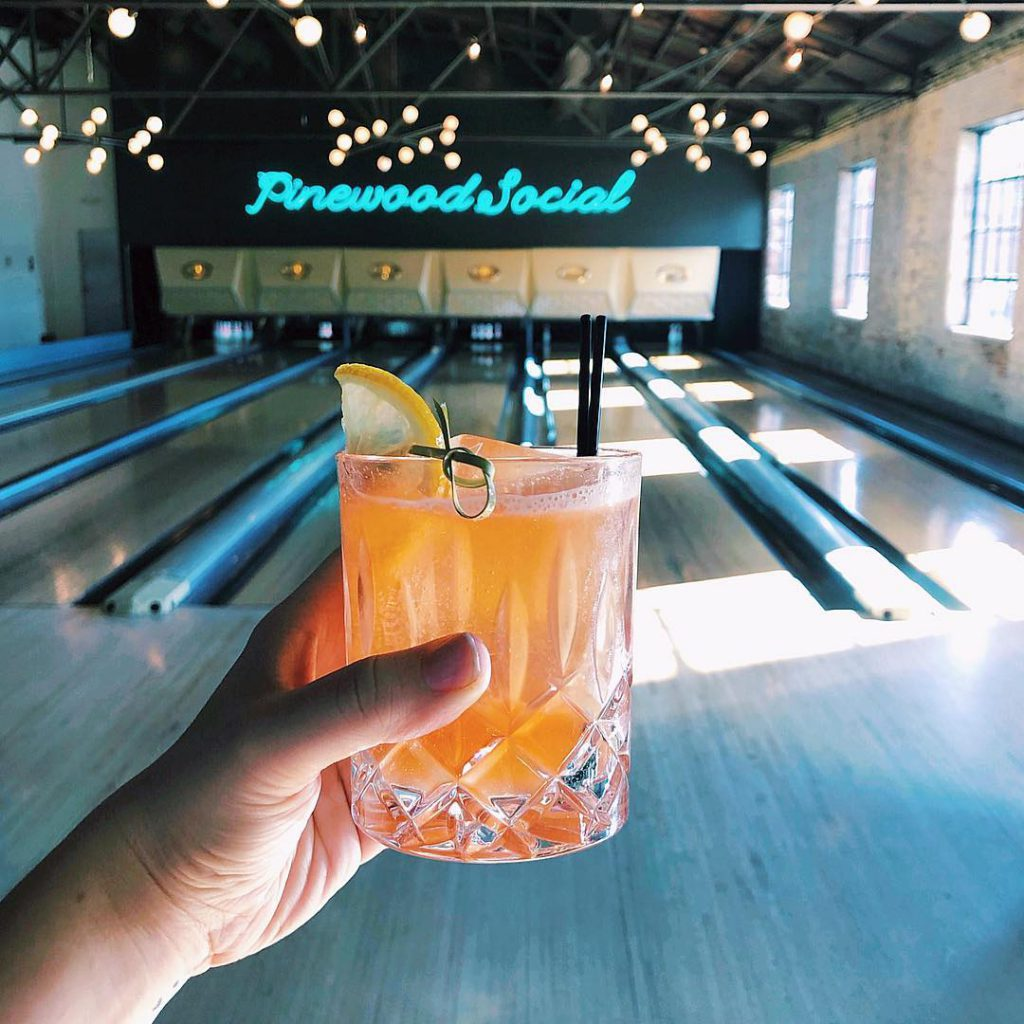 cocktail at a bowling alley