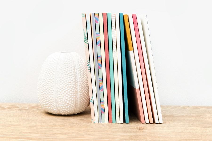 photo books on shelf