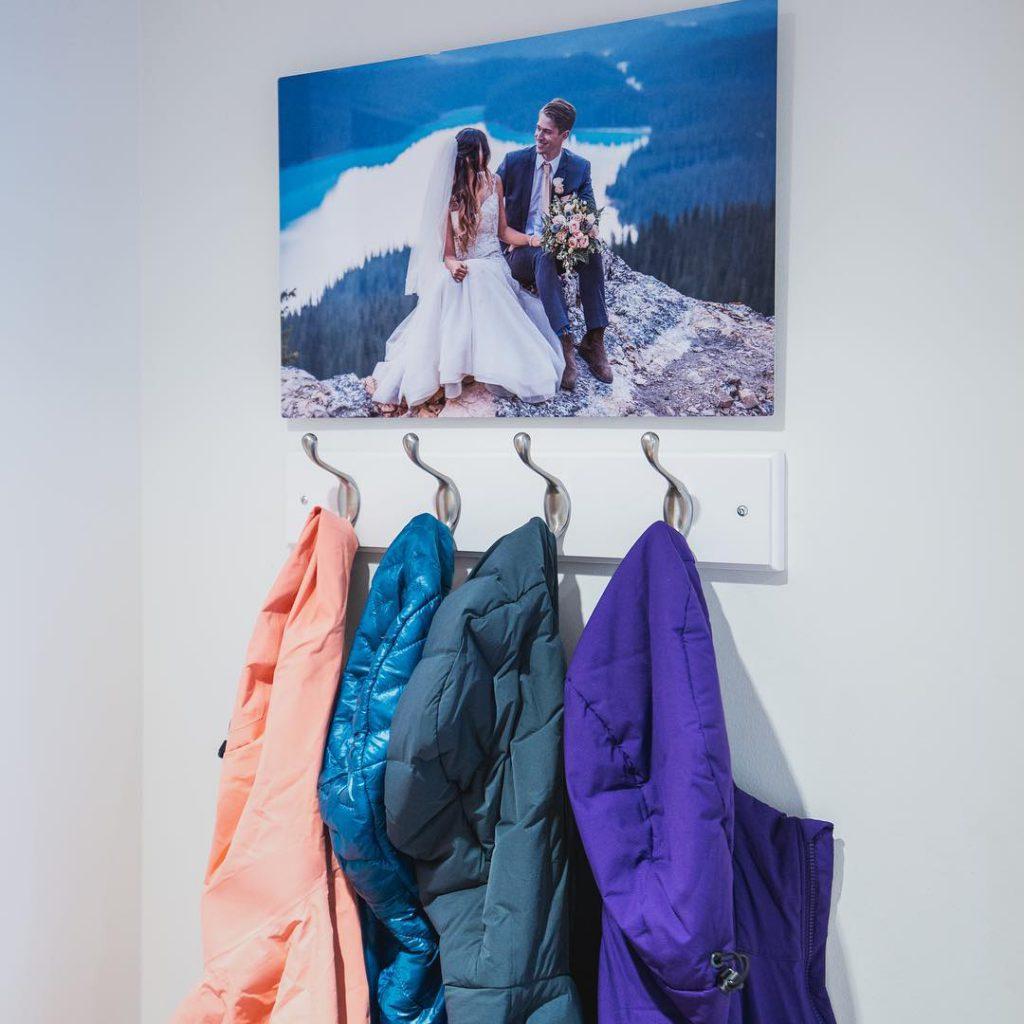 Metal Print hanging over coat rack