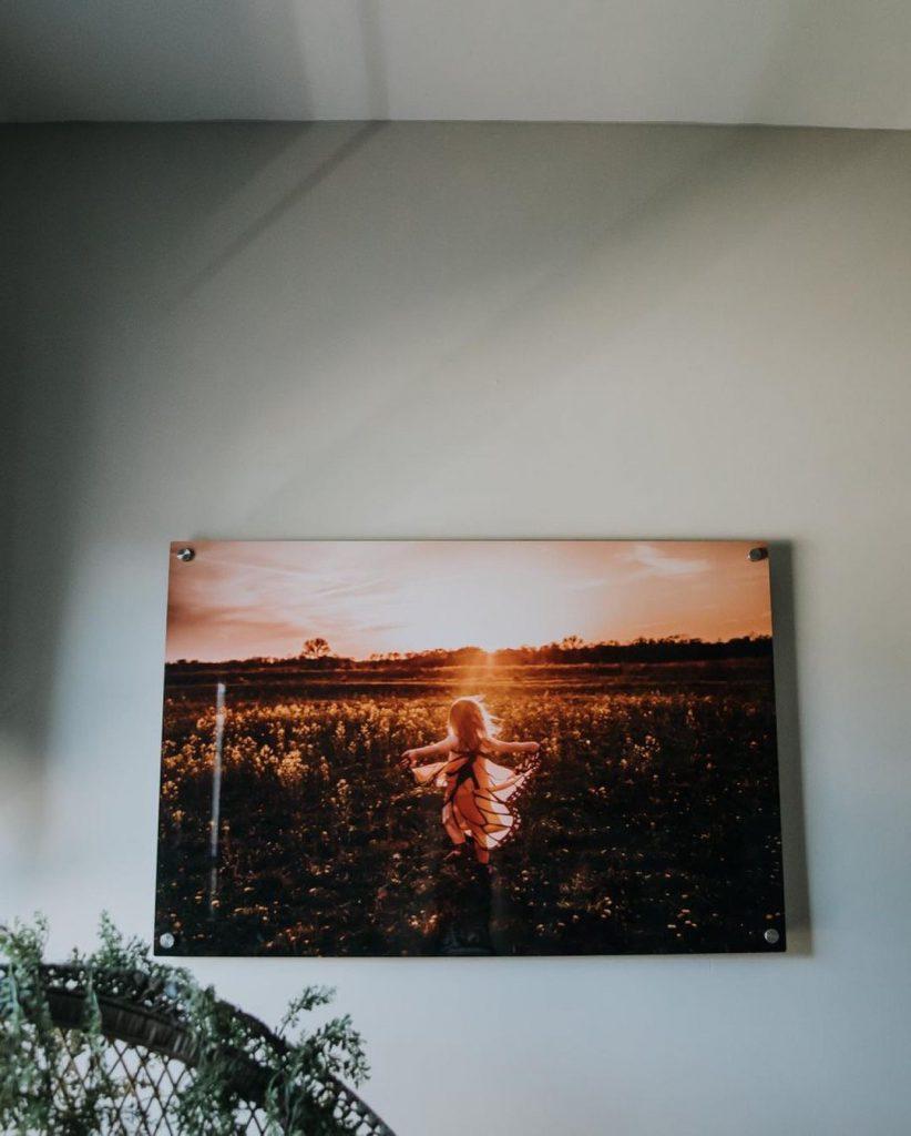 Metal Print Standoff hanging in child's bedroom