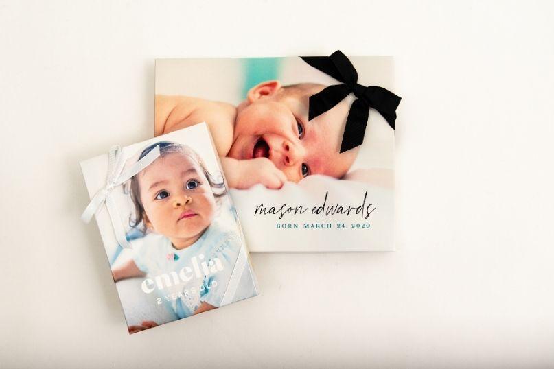 Custom presentation box featuring baby photos