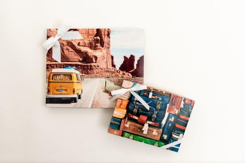 Custom presentation boxes with travel imagery