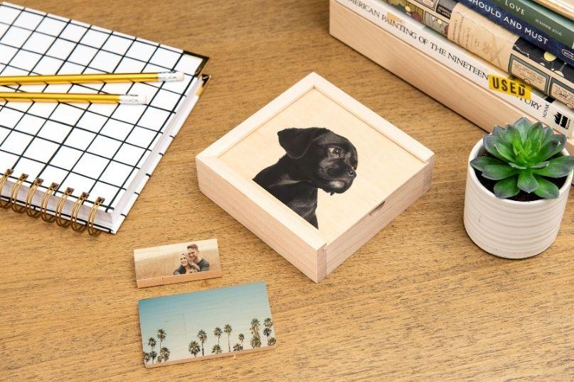 Wood box with photo sitting on desk